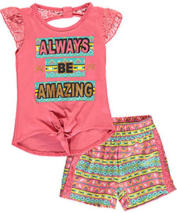 "Real Love Little Girls' Toddler ""Always Be Amazing"" 2-Piece Outfit (Sizes 2T – 4T) - CookiesKids.com"