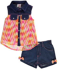 "Real Love Little Girls' ""Chevron Streaked"" 2-Piece Outfit (Sizes 4 – 6X) - CookiesKids.com"
