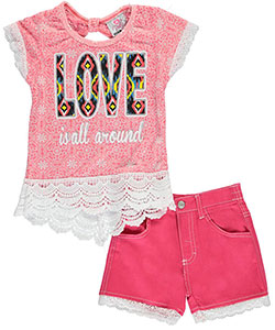 "Real Love Little Girls' ""Love Is All Around"" 2-Piece Outfit (Sizes 4 – 6X) - CookiesKids.com"
