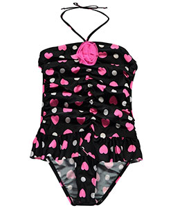 "2 B Real Little Girls' Toddler ""Retro Heart"" 1-Piece Swimsuit (Sizes 2T – 4T) - CookiesKids.com"