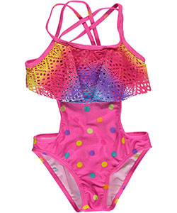 "2 B Real Little Girls' Toddler ""Dotted Rainbow"" 1-Piece Swimsuit (Sizes 2T – 4T) - CookiesKids.com"
