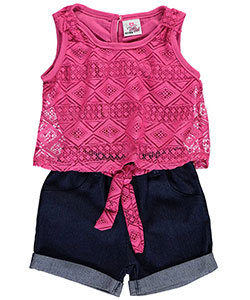"Real Love Little Girls' Toddler ""Lacy Denim"" Romper (Sizes 2T – 4T) - CookiesKids.com"