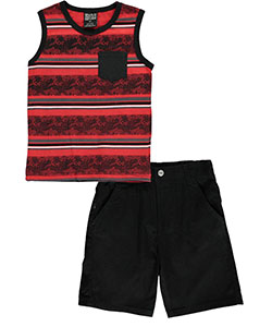 "Quad Seven Little Boys' Toddler ""Coded Lines"" 2-Piece Outfit (Sizes 2T – 4T) - CookiesKids.com"