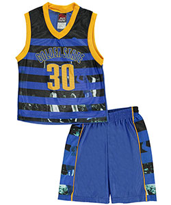 "Mad Game Little Boys' Toddler ""Golden State Stripes"" 2-Piece Outfit (Sizes 2T – 4T) - CookiesKids.com"