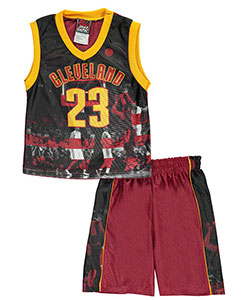 "Mad Game Little Boys' ""Cleveland Stripes"" 2-Piece Outfit (Sizes 4 – 7) - CookiesKids.com"