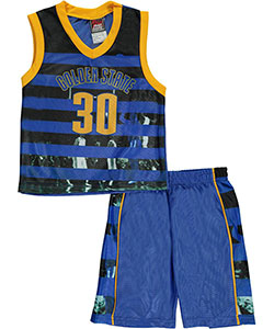 "Mad Game Little Boys' ""Golden State Stripes"" 2-Piece Outfit (Sizes 4 – 7) - CookiesKids.com"