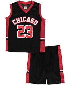 "Mad Game Little Boys' ""Chicago B-Ball 23"" 2-Piece Outfit (Sizes 4 – 7) - CookiesKids.com"