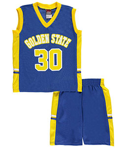 "Mad Game Little Boys' ""Golden State B-Ball 30"" 2-Piece Outfit (Sizes 4 – 7) - CookiesKids.com"