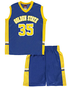 "Mad Game Little Boys' ""Golden State B-Ball 35"" 2-Piece Outfit (Sizes 4 – 7) - CookiesKids.com"