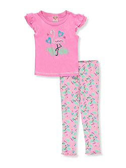 "1000% Cute Little Girls' Toddler ""Flamingo Hearts"" 2-Piece Pajamas (Sizes 2T – 4T) - CookiesKids.com"