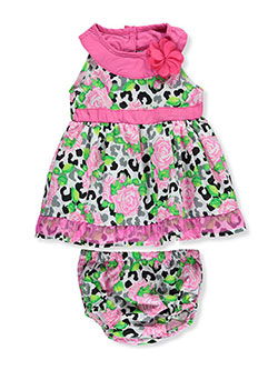 "Real Love Baby Girls' ""Roses on Leopard"" Dress with Diaper Cover - CookiesKids.com"
