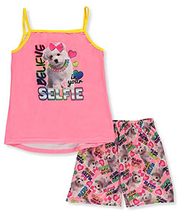 "Sweet n Sassy Big Girls' ""Puppy Selfie"" 2-Piece Pajamas (Sizes 7 – 16) - CookiesKids.com"