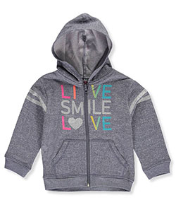 "Real Love Little Girls' Toddler ""Live, Smile, Love"" Zip-Up Hoodie (Sizes 2T – 4T) - CookiesKids.com"