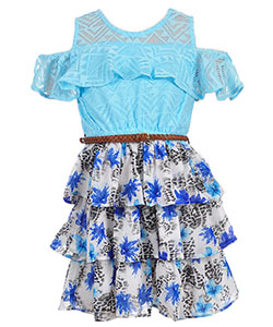 Real Love Girls' Belted Cold Shoulder Dress - CookiesKids.com