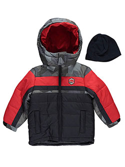 "London Fog Little Boys' Toddler ""Wintry Color-Block"" Jacket with Hat (Sizes 2T – 4T) - CookiesKids.com"
