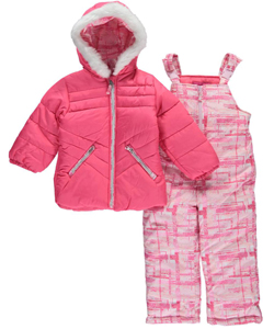 "London Fog Little Girls' Toddler ""Geometric Snowstorm"" 2-Piece Snowsuit (Sizes 2T – 4T) - CookiesKids.com"