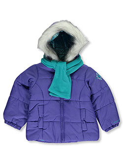 London Fog Little Girls' Insulated Jacket with Scarf (Sizes 4 – 6X) - CookiesKids.com