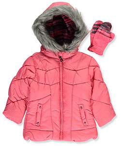 London Fog Little Girls' Insulated Jacket with Mittens (Sizes 4 – 6X) - CookiesKids.com