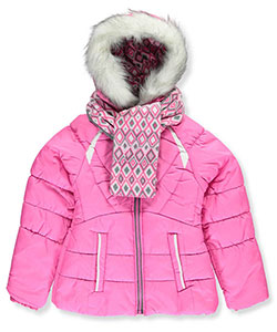 London Fog Big Girls' Insulated Jacket with Scarf (Sizes 7 – 16) - CookiesKids.com