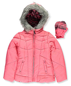 London Fog Big Girls' Insulated Jacket with Mittens (Sizes 7 – 16) - CookiesKids.com