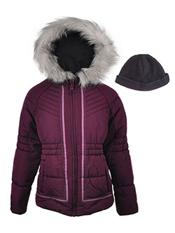 London Fog Big Girls' Insulated Jacket with Hat (Sizes 7 – 16) - CookiesKids.com