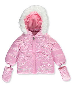 London Fog Baby Girls' Jacket with Mittens - CookiesKids.com