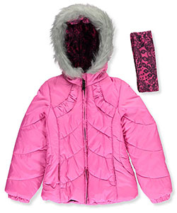 London Fog Big Girls' Jacket with Headband (Sizes 7 – 16) - CookiesKids.com