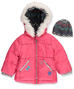 London Fog Little Girls' Toddler Jacket with Beanie (Sizes 2T – 4T) - CookiesKids.com