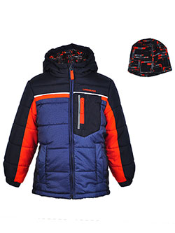 London Fog Little Boys' Insulated Jacket with Beanie (Sizes 4 – 7) - CookiesKids.com