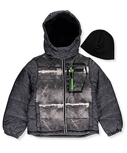 London Fog Big Boys' Insulated jacket with Beanie (Sizes 8 – 20) - CookiesKids.com