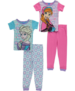 "Disney Frozen Little Girls' Toddler ""Flowered Love"" 4-Piece Pajama Set (Sizes 2T – 4T) - CookiesKids.com"