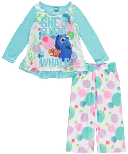 "Disney Finding Dory Little Girls' ""She's Fluent in Whale"" 2-Piece Pajamas (Sizes 4 – 6X) - CookiesKids.com"