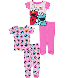 "Sesame Street Baby Girls' ""2 Cute"" 4-Piece Pajama Set - CookiesKids.com"