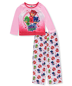 "PJ Masks Little Girls' Toddler ""Time to Be a Hero!"" 2-Piece Pajamas with Cape (Sizes 2T – 4T) - CookiesKids.com"