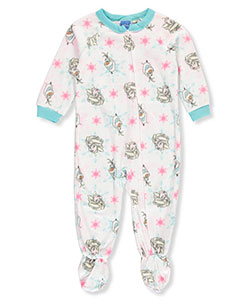 Disney Frozen Baby Girls' 1-Piece Footed Pajamas Featuring Elsa & Olaf - CookiesKids.com