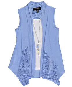 "Amy Byer Big Girls' ""Cloudtop"" Layer Top with Necklace (Sizes 7 – 16) - CookiesKids.com"