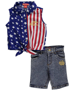 "Apple Bottoms Little Girls' ""Patriot Style"" 2-Piece Outfit (Sizes 4 – 6X) - CookiesKids.com"