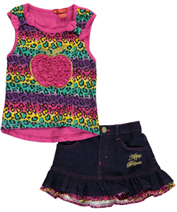 "Apple Bottoms Little Girls' Toddler ""Rainbow & Ruffle Apple"" 2-Piece Outfit (Sizes 2T – 4T) - CookiesKids.com"