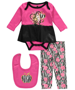 "Apple Bottoms Baby Girls' ""Zebra Cool"" 3-Piece Outfit - CookiesKids.com"