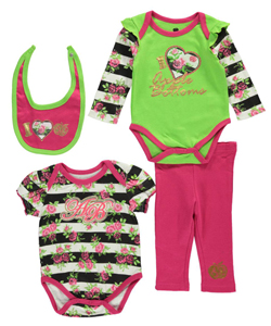 "Apple Bottoms Baby Girls' ""Flowers + Stripes"" 4-Piece Set - CookiesKids.com"