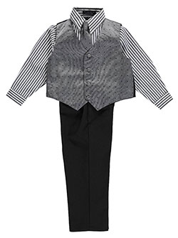 "Andrew Fezza Little Boys' Toddler ""Salt & Pepper Square"" 4-Piece Vest Set (Sizes 2T – 4T) - CookiesKids.com"