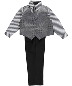 "Andrew Fezza Little Boys' ""Salt & Pepper Square"" 4-Piece Vest Set (Sizes 4 – 7) - CookiesKids.com"