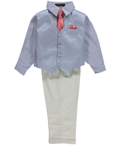 "Andrew Fezza Little Boys' Toddler ""Pattern Play"" 4-Piece Vest Set (Sizes 2T – 4T) - CookiesKids.com"