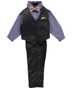 "Andrew Fezza Little Boys' ""Shadowed Pinstripes"" 4-Piece Vest Set (Sizes 4 – 7) - CookiesKids.com"