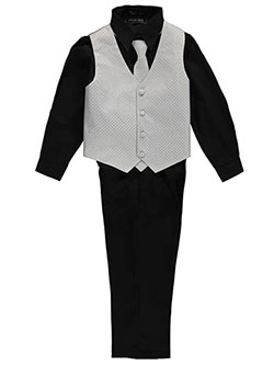 "Andrew Fezza Big Boys' ""Jacquard & Solid"" 4-Piece Vest Set (Sizes 8 – 20) - CookiesKids.com"