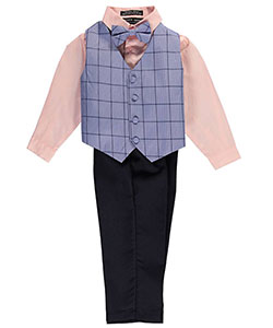 "Andrew Fezza Little Boys' Toddler ""Bright Windowpane"" 4-Piece Vest Set (Sizes 2T – 4T) - CookiesKids.com"