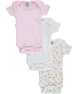 "Daydreamers Baby Girls' ""Giraffe & Cow"" 3-Pack Bodysuits - CookiesKids.com"
