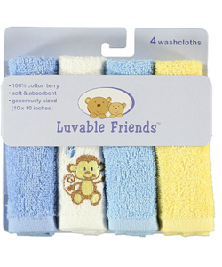 "Luvable Friends ""Monkey Time"" 4-Pack Washcloths - CookiesKids.com"