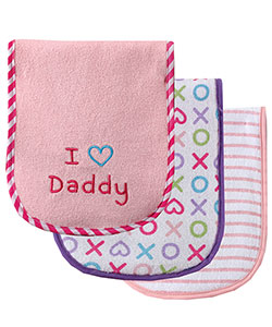 "Luvable Friends ""XOXO Daddy"" 3-Pack Burp Cloths - CookiesKids.com"