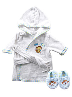 "Luvable Friends Baby Boys' ""Umbrella Monkey"" Bathrobe & Slippers Set - CookiesKids.com"